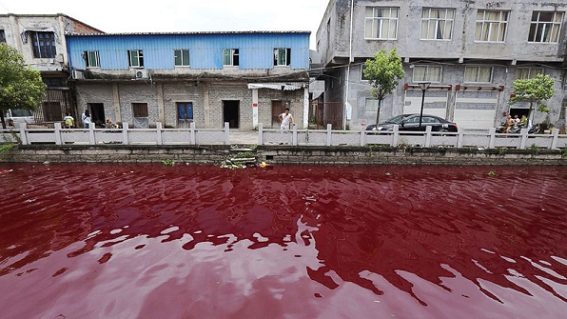 River In China, Turns Blood Red Overnight